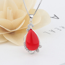 Silver S925 Necklace Ruby and Sapphire Chalcedony Pendant Female Agate National Wind Fashion Pierscionki Red Topaz Pendants