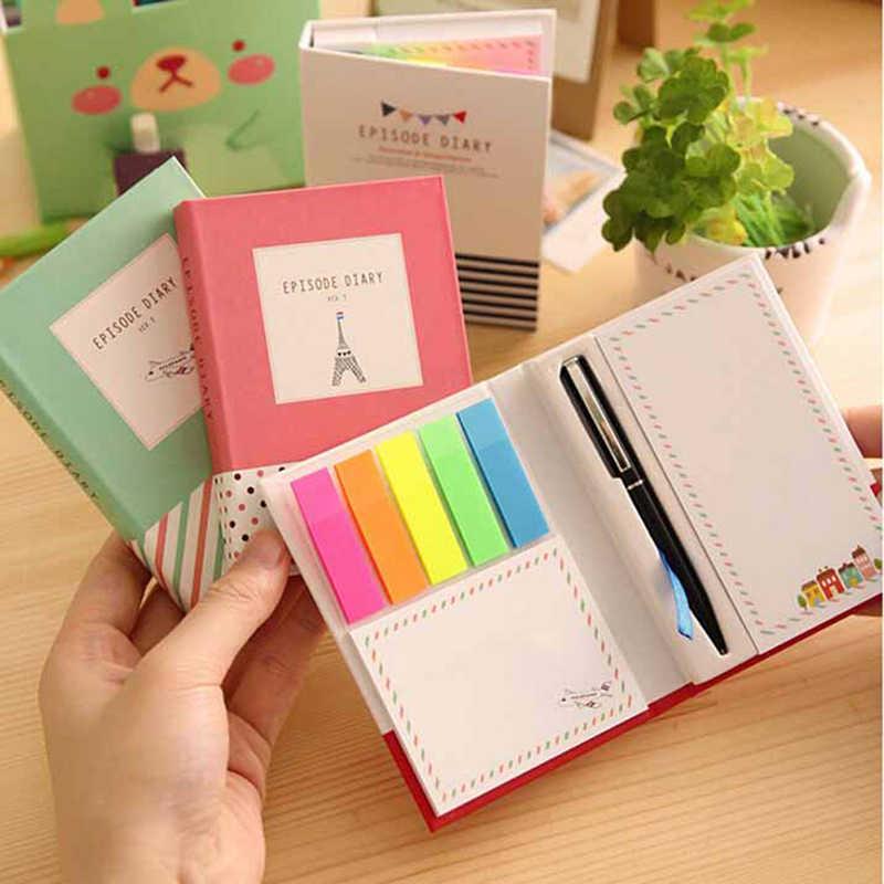 1pc colorido Mini portátil con lápiz de tapa dura combinación pegajosa Trivial libro diario de oficina memorándum escolar Pad al azar