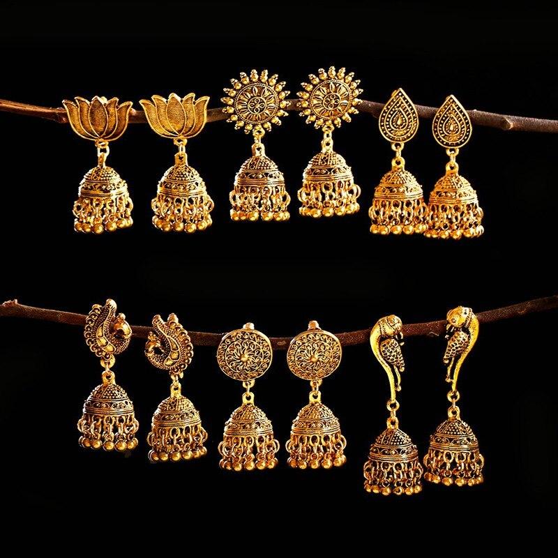 Женские серьги в стиле ретро с золотым павлином, тибетские ювелирные изделия, Винтажные серьги в геометрическом стиле с кисточками, Orecchini ...