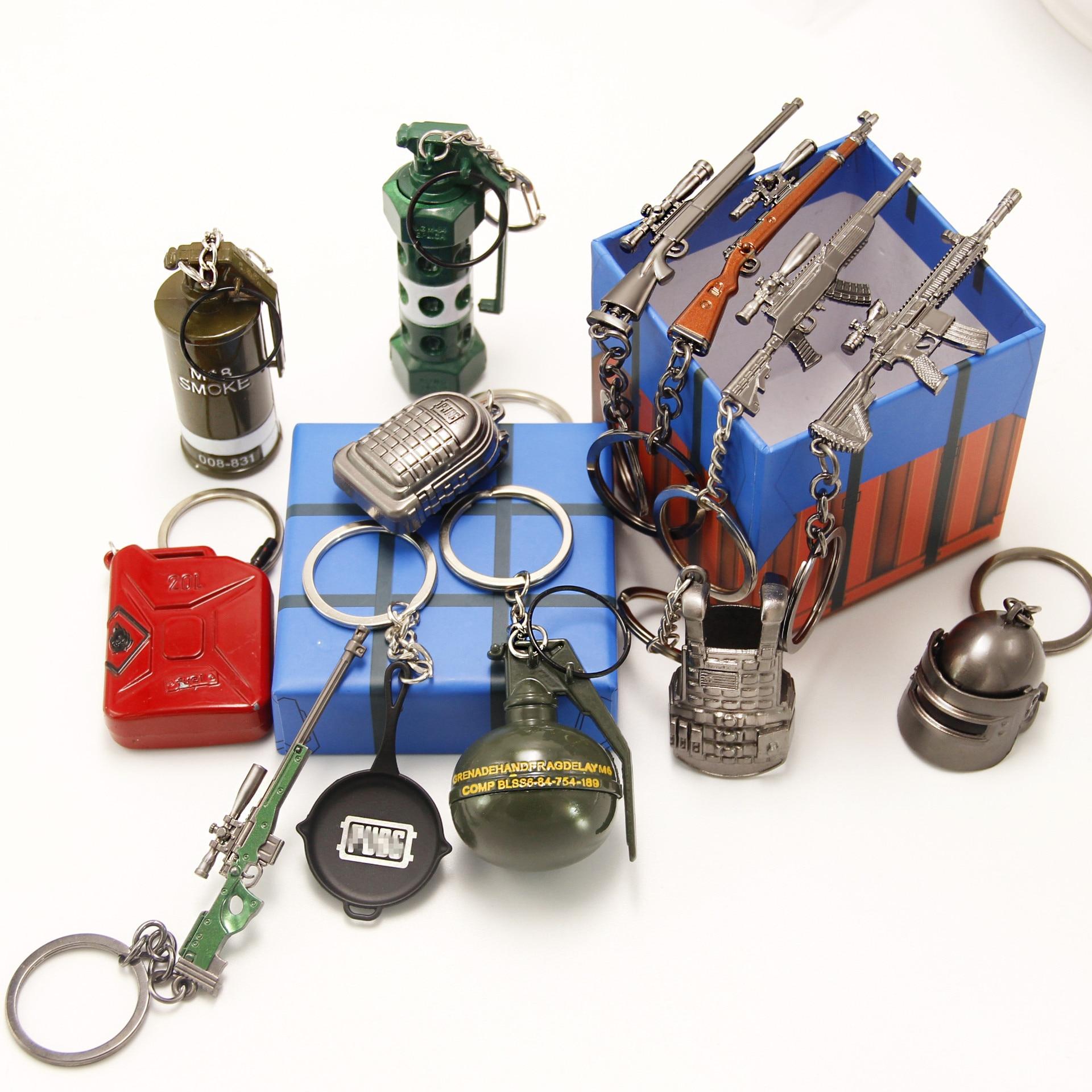 2020 Game PUBG Keychain Cosplay Props Stun Grenade Smoke Grenade Shard Grenade Gun Weapon Toy Key Chain Christmas