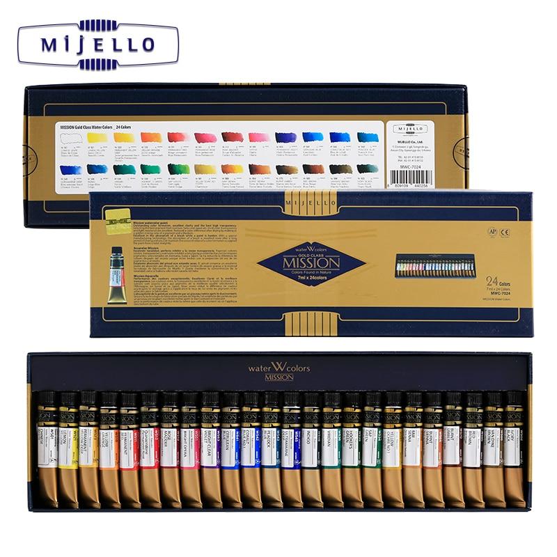 Купить с кэшбэком Mijello Gold 24 Colors Watercolor High Concentration Natural Pigment Watercolour Professional Painter Paints
