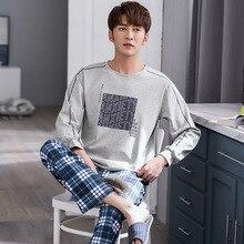 Suit Sportswear Pajamas-Set Wearable Male Cotton Big-Size Cartoon Home Loose Autumn Men