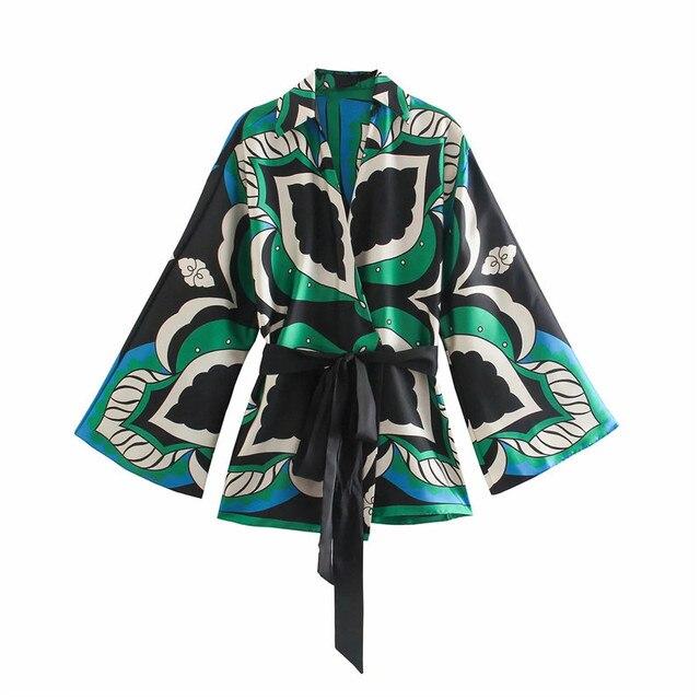 PSEEWE Za 2021 Bermuda Shorts Woman Summer Green Print High Waist Short Pants Women Vintage Loose Casual Streetwear Shorts Sets 4