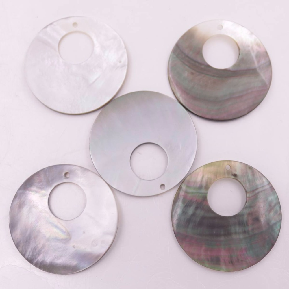 Купить с кэшбэком 5 PCS 35mm Shell Natural Gray Black Mother of Pearl Loose Charms Pendants