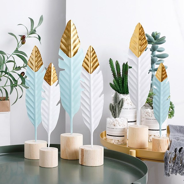 Nordic Feather Wooden Decorations Creative Office Bookroom Desktop Decor Miniature Figurines Home Decoration Accessories 1