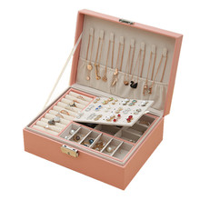 New Double-Layer Leather Jewellery Box Ear Stud Earrings Ornament Storage Box Multi-Function Large Jewelry Box