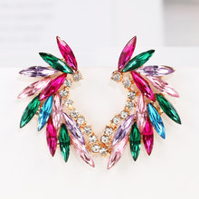 Huitan Swanking Women Earrings Bright Color Gorgeous Party Accessories Handmade Lady's Gift Feather Design Statement Jewelry New