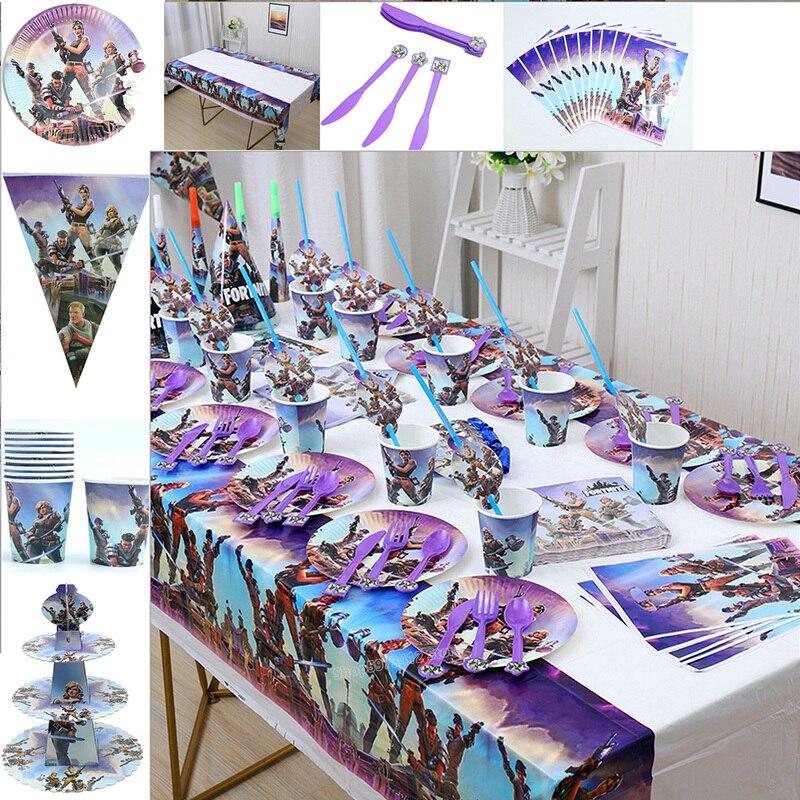 Набор одноразовых столовых приборов в стиле игры Fortnites, Детские подростковые украшения для дня рождения, вечеринки в крепости, салфетки, бум...