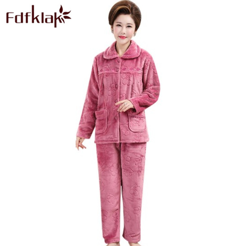 Fdfklak L-3XL Plus Size Pajamas Sets Women's Home Suit Pijama Femme New Winter Flannel Long Sleeve Sleeping Clothes Pyjama