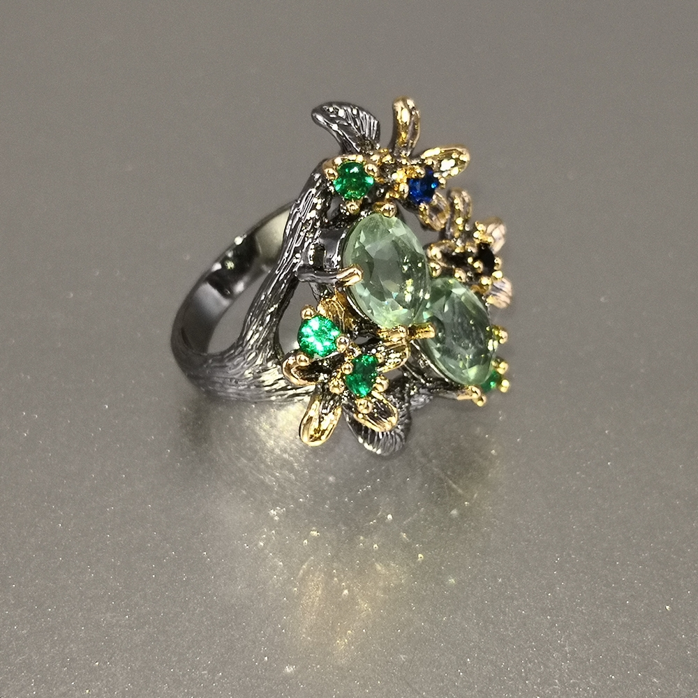 DreamCarnival 1989 Stunning CZ Rings for Women Engagement Party Vintage Flower Ring Eye Catching Olivine Zircon Jewelry WA11688 4