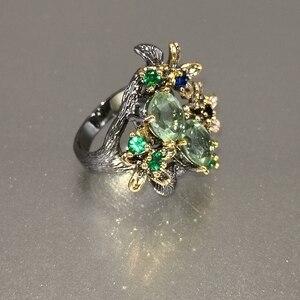 Image 4 - Dreamcarnival Hot Selling Prachtige Cz Ring Voor Vrouwen Engagement Party Vintage Bloem Opvallende Olivijn Zirkoon Sieraden WA11688