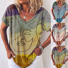 Summer Women's Gradient T-shirt Tops Tie-dye Printing V-neck T-shirt Casual and Comfortable Summer Tops