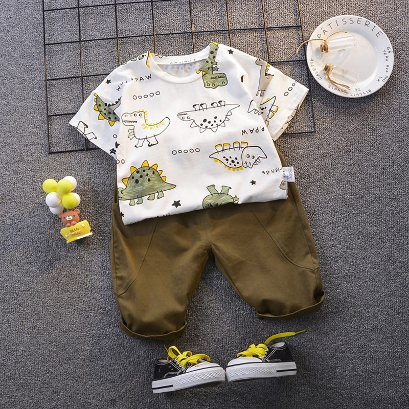 Baby Clothing Sets Summer 1-5year Baby Boys Clothes Infant Cotton Boys  Cartoon Dinosaur Tops T-shirt+Pants Outfits Kids Clothes