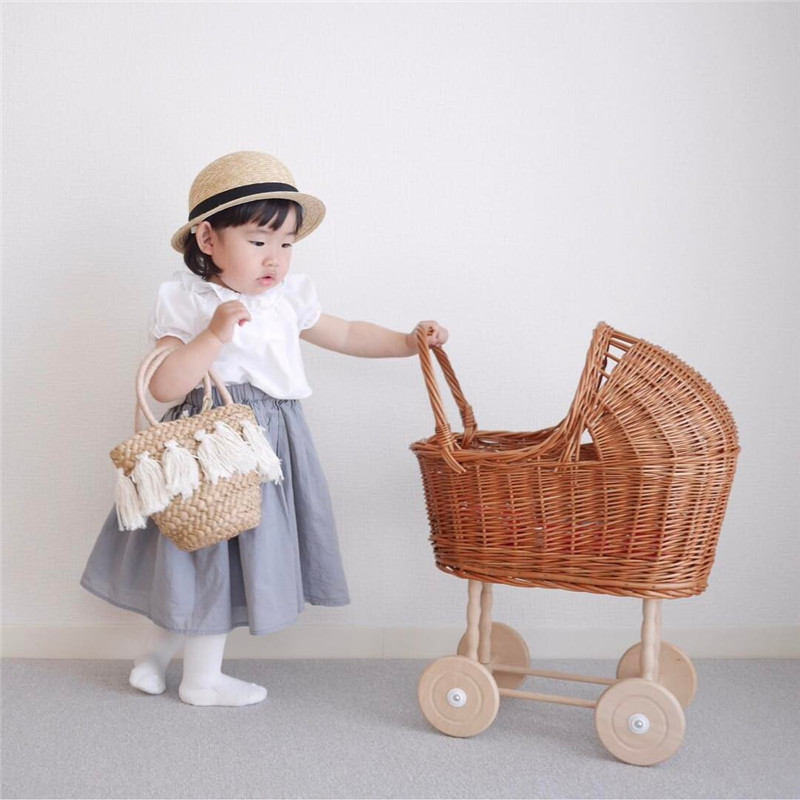 Newborn Photography Props For Baby Retro Doll Cart Pretend Play Toys Rattan Trolley Stroller Accessories Studio Shoots  Photo