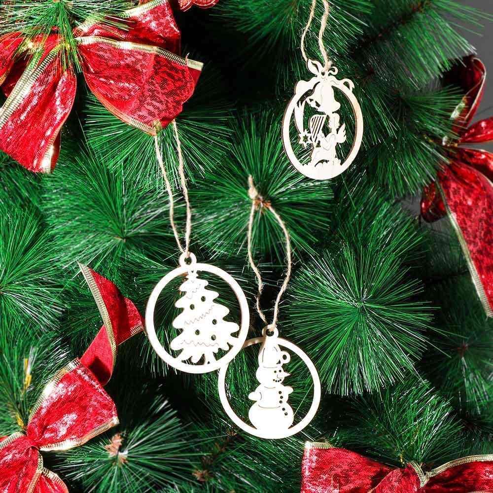 10 шт./пакет Рождественская елка Природа Деревянные Подвески полые Ангел Снеговик висячие украшения рождественские деревянные фишки DIY Декор ремесла