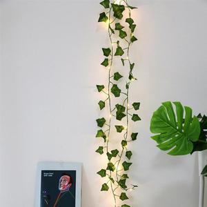 2M/ 20 LED Artificial Plants String Light Green Leaf Ivy Vine Fairy Light String Maple Leaves Lamp Garland DIY Hanging Lighting(China)