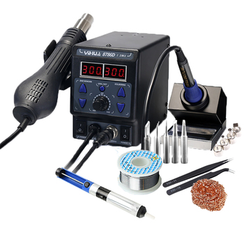 цена на Digital Soldering Iron Station kit 2 in 1 Soldering Iron Hot Air Rework Station °F /°C with Multiple Functions