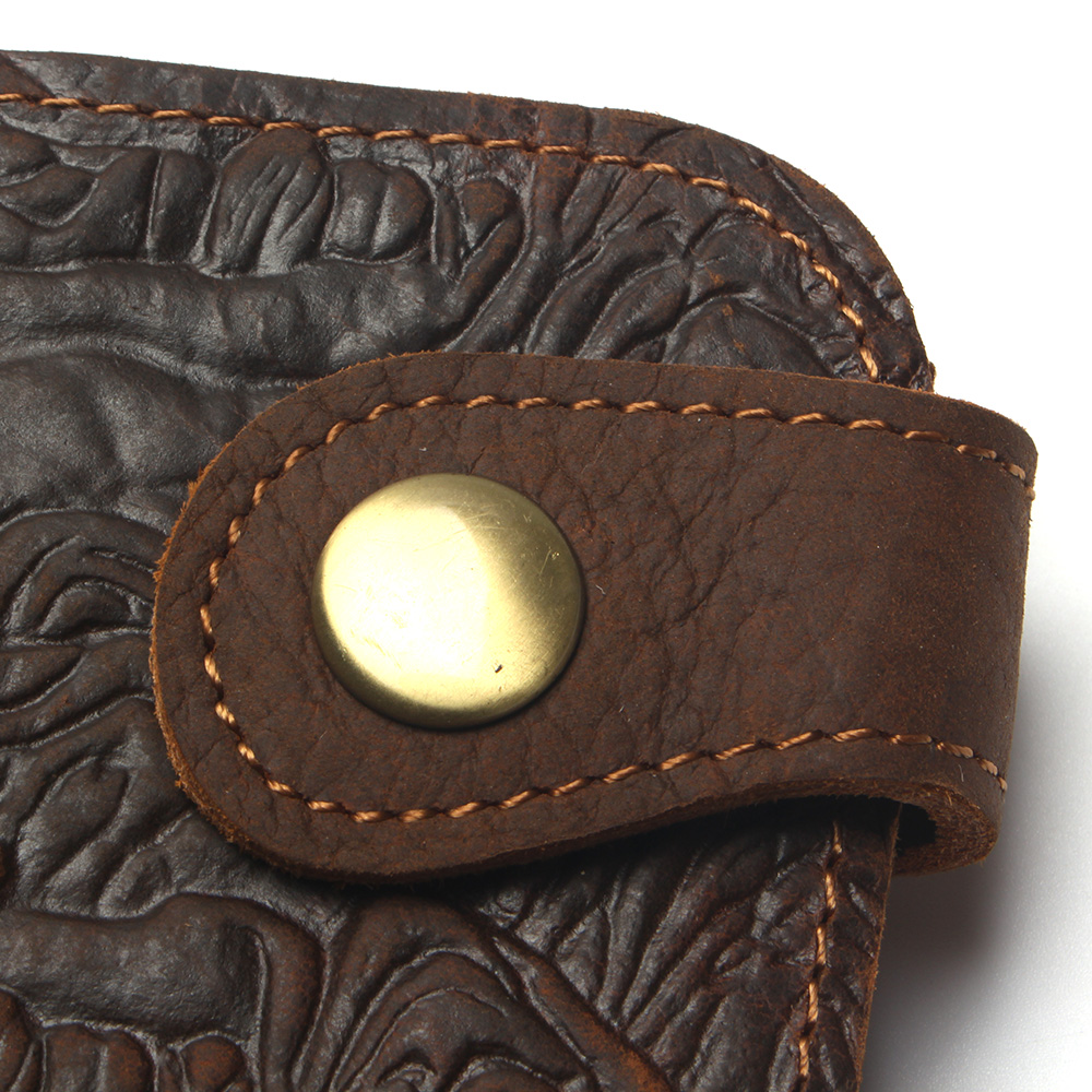 Купить с кэшбэком Cool Men's Wallet Vintage Chain With Belt Buckle Tiger Style 100% Genuine Leather Men Long Personality Coin Purse