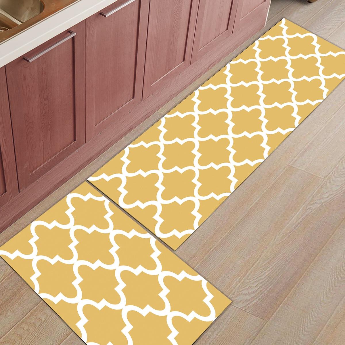 9Pcs/Set Geometric Lattice Moroccan Yellow Kitchen Mat Modern Carpet  Entrance Doormat Tapete Rugs Bedroom Mats Home Decor