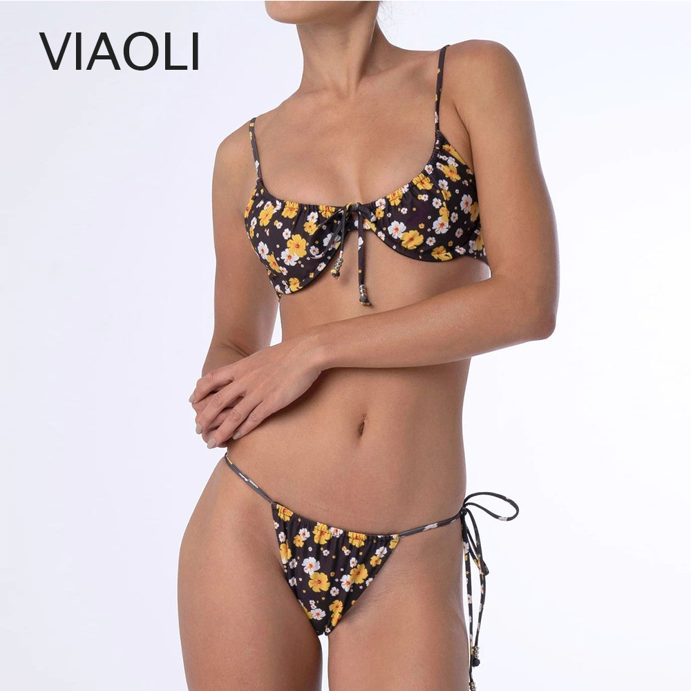 Women Floral Print Bikini Set Swimming Two Piece Swimsuits Push Up Swimwear Beach Suit Bathing Suit Low Waist Bandage Biquini