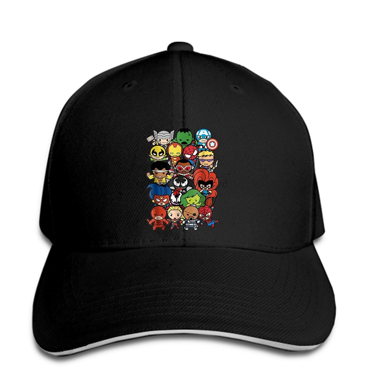 Funny Men Men Baseball Cap Women novelty Heroes And Villains Team Kawaii Graphic Men Baseball Cap Snapback Cap Women Hat Peaked
