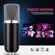 Hot Professional Handheld Condenser Microphone Computer Microphone Stand Tripod Wired 3.5mm Jack For Recording Studio Round Flat usb studio condenser supercardiod samson c01u pro microphone with tripod stand