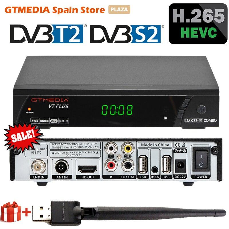 Спутниковый ТВ-ресивер GTMEDIA V7 PLUS 1080P FHD DVB S2 T2 тюнер H.265 с USB WiFi MPEG декодер поддержка Youtube Ccam Испания Box