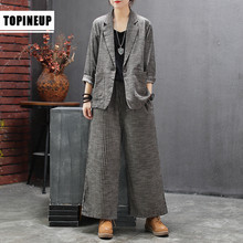Suits High-Quality Leg-Pants Blazer Striped Women Ladies 2pieces Cotton Linen for And