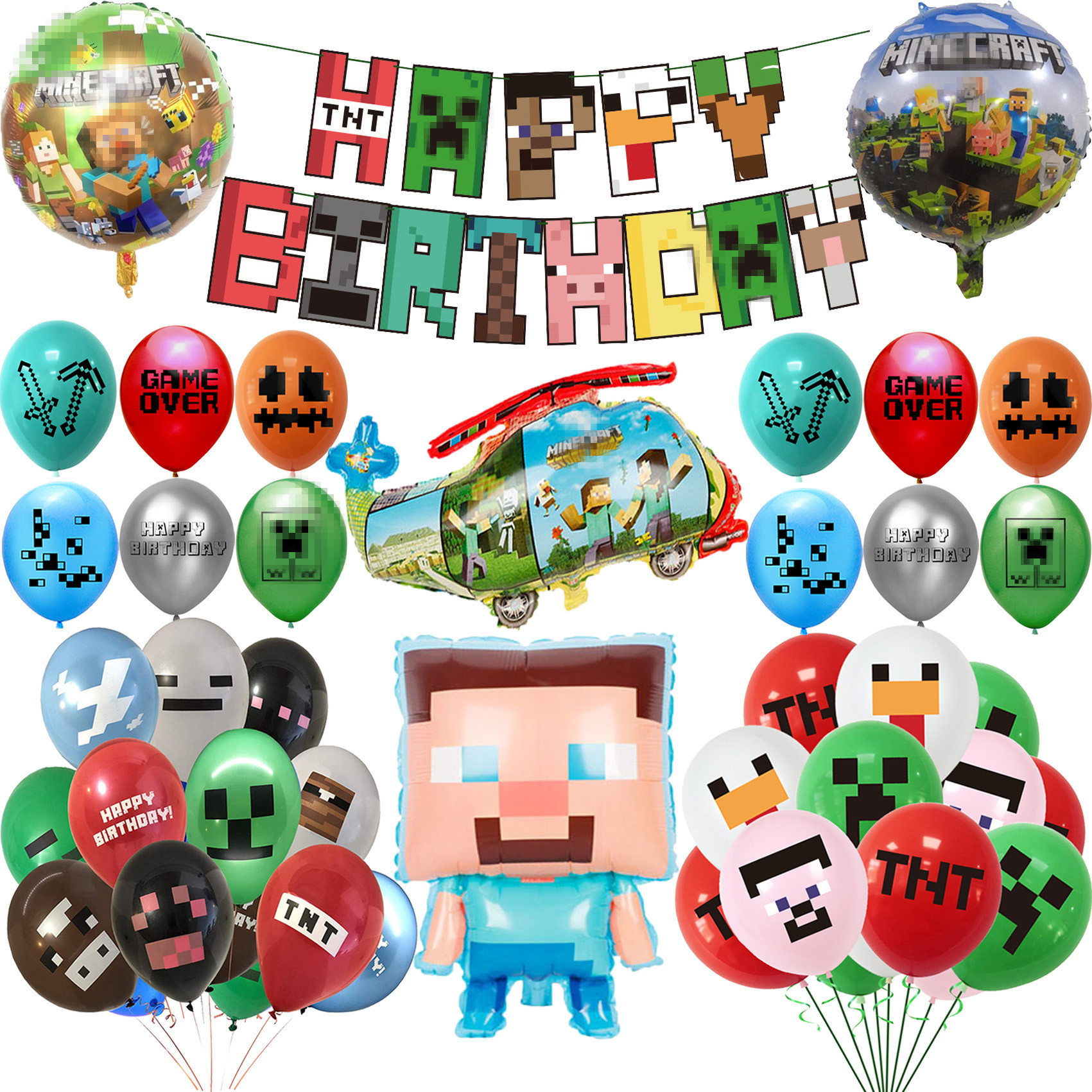 Воздушные шары Pixelated, мультяшная игра в миры, свинья, TNT, фольгированные шары, украшение для дня рождения, баннер для вечеринки в честь рожден...