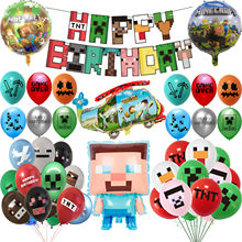 Pixelated Balloons Cartoon Worlds Game Pig TNT Foil Ballons Happy Birthday Party Decoration Banner Baby Shower Adult Boy Kid Toy