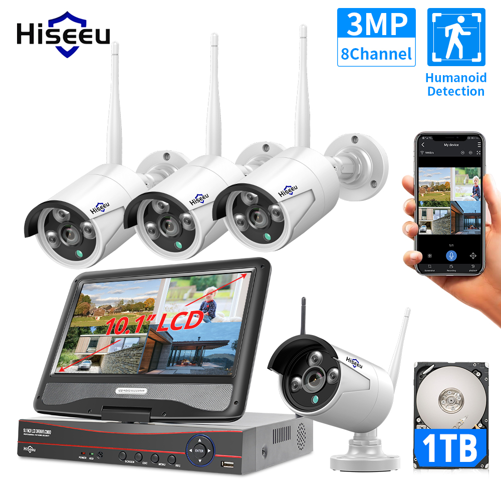 """Hiseeu 3MP 2MP 8CH Wireless Security System Kit for 1536P 1080P Outdoor video Surveillance CCTV Camera System With 10.1"""" Monitor"""