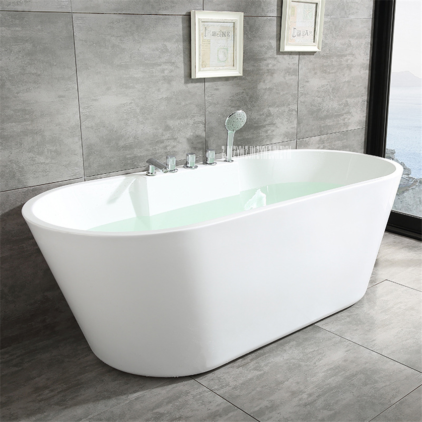 SY-2013 1.5m Adult Acrylic Household Bathtub Oval Freestanding Tub Modern Bathroom Bathtub S-Trap With Copper Tap Hardware Part