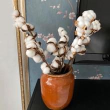 Flores secas algodão natural seco ramo de algodão flores artificiais decoração para casa algodão artificial diy artesanato decoração do casamento