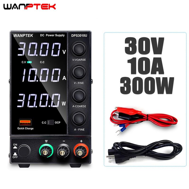 Wanptek USB estantes DC laboratorio 30V 10A laboratorio de fuente de alimentación ajustable 60V 5A estabilizador y regulador de voltaje de fuente de alimentación
