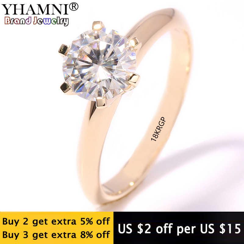 YHAMNI mode schmuck Haben 18KRGP Stempel Original Gelb Gold Ring einzel CZ Zirkon Frauen Hochzeit gold Ringe JR169