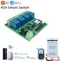 Tuya Smart Life,Wi-Fi, умный светильник переключатель Wi-Fi модуль, 4CH DC 5 В/12/32V автофиксацией/шаговым управлением RF433 получать 10A реле работают с Alexa Google ...