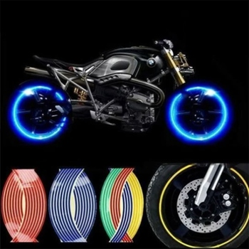 16Pcs 18'' Motorcycle Wheel Rim Sticker Tire Hub Reflective Tape Stickers Bicycle Motorbike Car Decals For Yamaha Honda BMW image