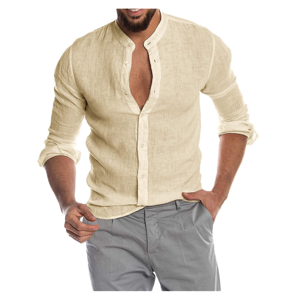 2020 New Men's Casual Cotton Linen Long Sleeve Shirt Men Men's Clothings Men's Shirts Men's Tops