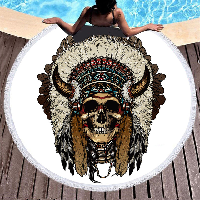 FEATHER SKULL ROUND BEACH TOWEL (4 VARIAN)