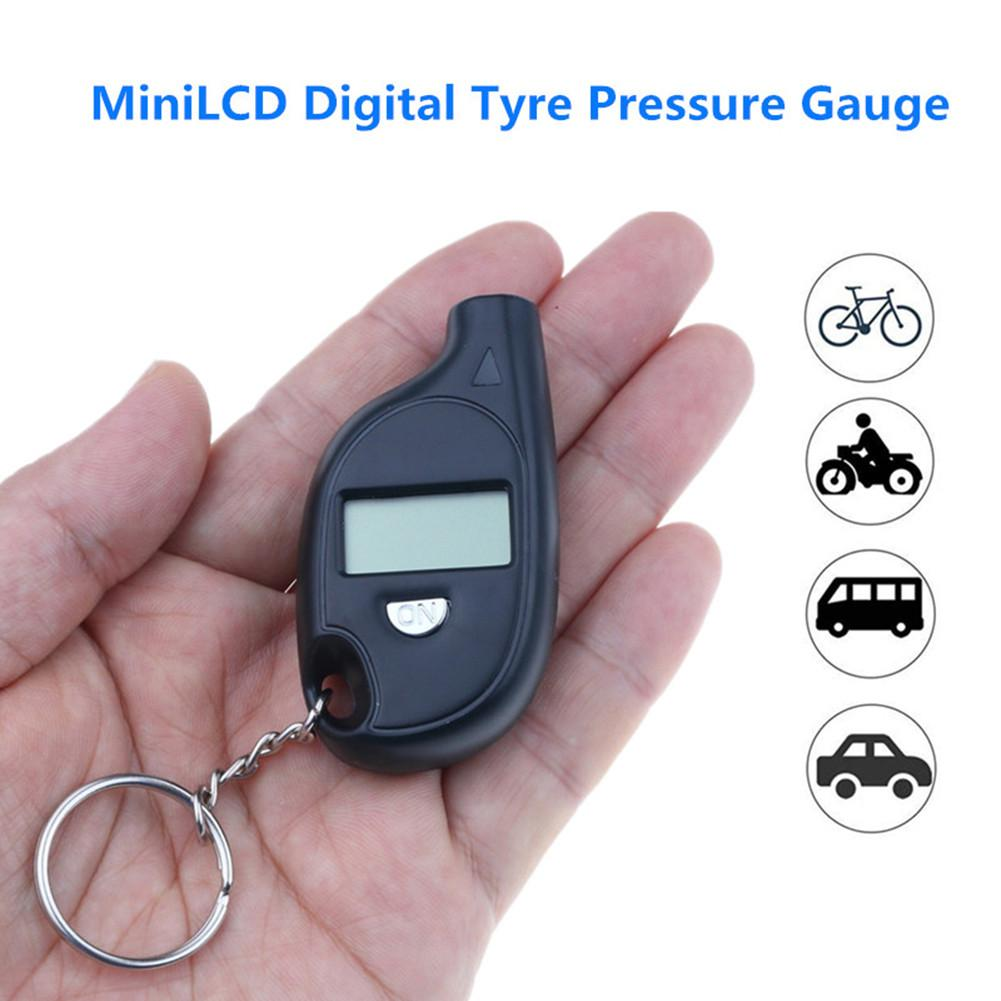 Mini LCD Digital Tire Pressure Gauge TPMS Tools Car Bike Engine Tire Pressure Tester Air Pressure Checker Adapter With Keychain