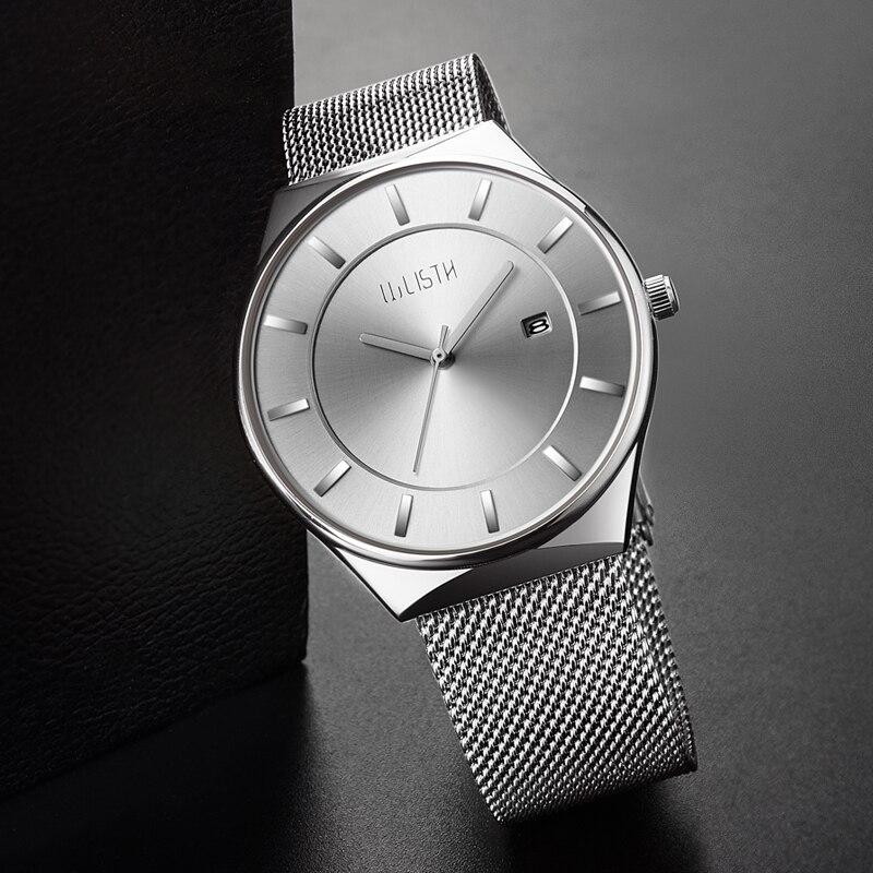 Men Women 30 Meters Water Resistant Alloy Case Mesh Belt Strap Simple Male Female Couple Style Fashion Auto Date Wrist Watch