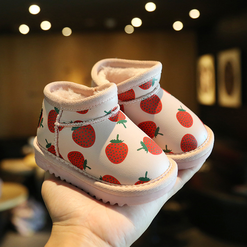 Winter Baby Toddler Shoes Strawberry Pineapple Warm Children Cotton Shoes 2-3 Years Old Baby Snow Boots
