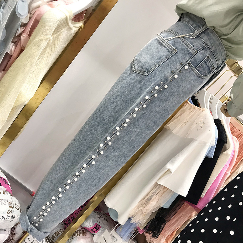 Hong Kong Flavor Beads Jeans Women's 2019 Autumn And Winter New Style Loose-Fit Slimming Elastic Waist Baggy Pants Beam Leg Dad