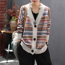 2020 retro cardigan jacquard v-neck long-sleeved sweater jacket autumn casual all-match single-breasted knitted cardigan women