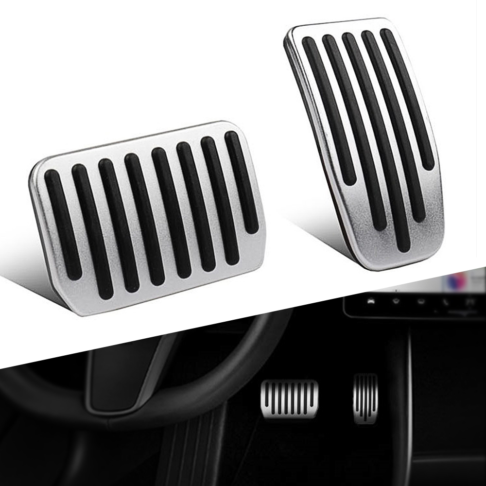 For Tesla Model 3 Accessories Aluminum Alloy Foot Pedal Accelerator Gas Fuel Brake Pedal Rest Pedal Pads Mats Cover Car Styling