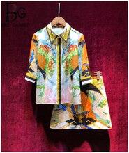 Baogarret 2019 Fashion Designer Summer Two Pieces Womens Elegant Half Sleeve Beading Print Blouse + A Line Skirts Piece Set