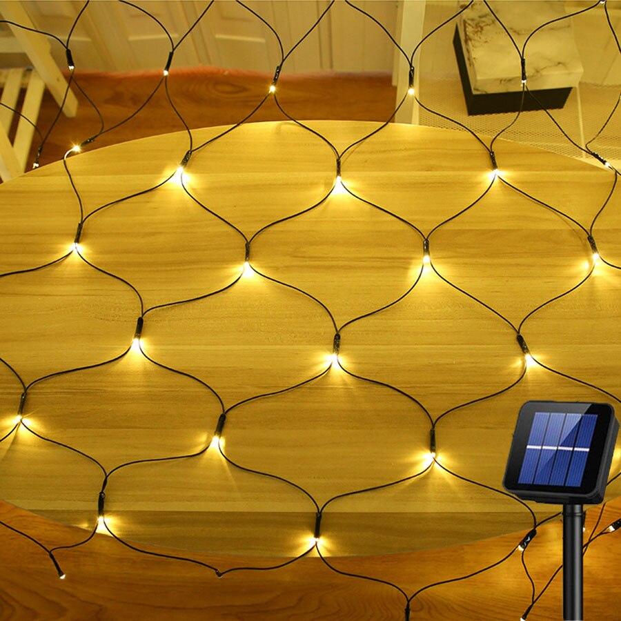 Thrisdar Christmas Solar LED Net Mesh String Light 1.1X1.1M/2X3M Outdoor Garden Window Curtain Net Fairy Garland String Light