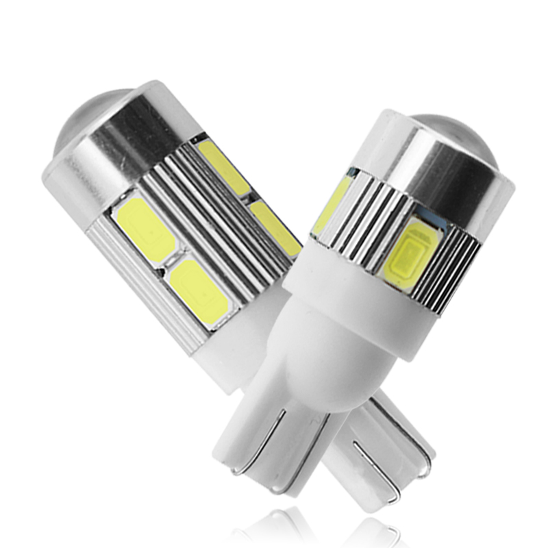 1x Car T10 LED Bulb 6 SMD 12V White 6500K W5W LED Signal Light 10 SMD Auto Interior Wedge Side License Plate Lamps 5W5 194 168