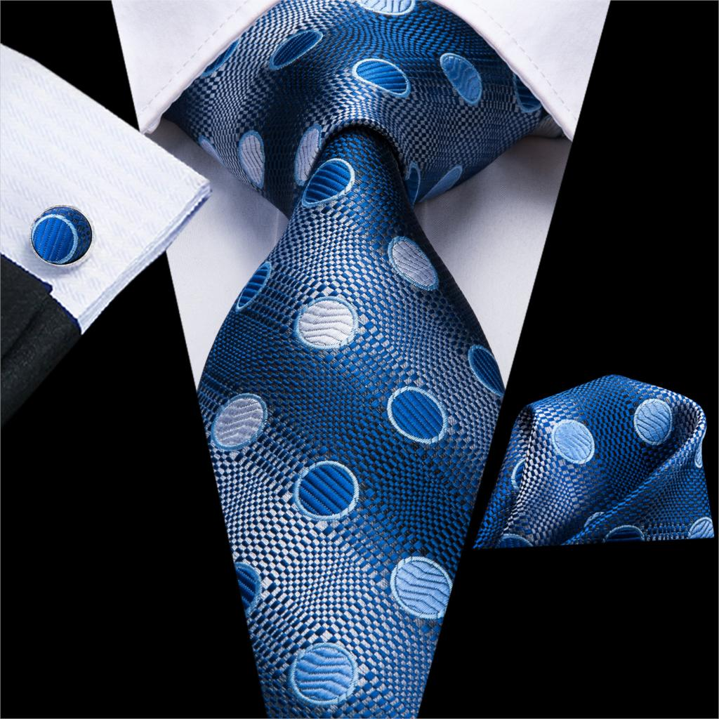 Ties For Men Blue White Tie Dots Necktie Set Pocket Square Cufflinks Cravat For Wedding Party Wedding Tie C-3262 Dropshiping