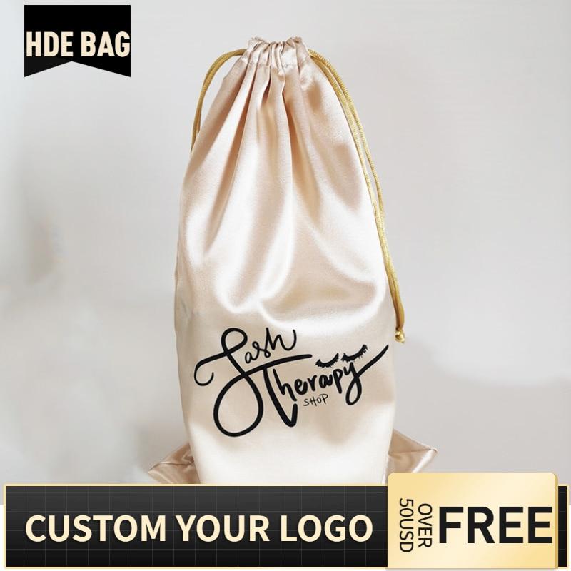 50pcs 18x30cm Custom Satin Hair Extensions Bundles Wigs Packaging Drawstring Logo Bag Underwear Shoes Cloth Storage Silk Pouches